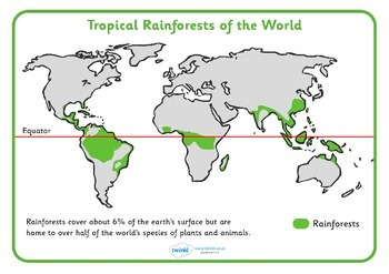 Tropical Rainforests World Map Reference Sheet By Twinkl Printable