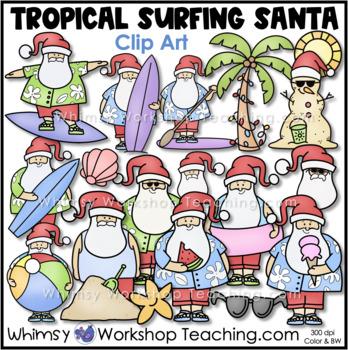 Tropical Surfing Santa Clip Art