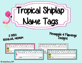 Tropical Shiplap Name Tags Desk Plates