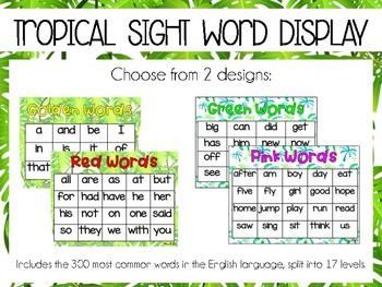 tropical sight word display by miss b tpt teachers pay teachers