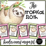 Tropical Sloth EDITABLE Binder Cover Set