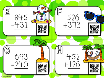 Tropical Snowman 3 Digit Addition & Subtraction Task Cards w/QR Codes