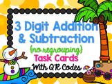 Tropical Snowman 3 Digit Addition & Subtraction Task Cards w/QR Codes