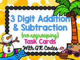 Tropical Snowman 3 Digit Addition & Subtraction Task Cards