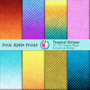 Tropical Stripes Style Digital Paper Texture Set - Graphics for Teachers