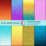 Tropical Stripes Style Digital Paper Texture Set - Graphic