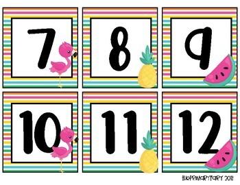 Tropical Stripes Book Bin Numbers