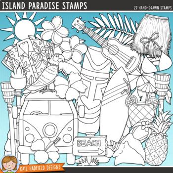 "Tropical Island Summer Clip Art: ""Island Paradise"""