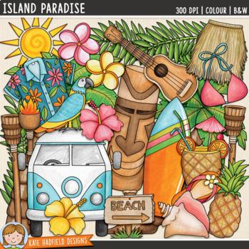 """Tropical Beach Summer Clip Art: """"Island Paradise"""""""