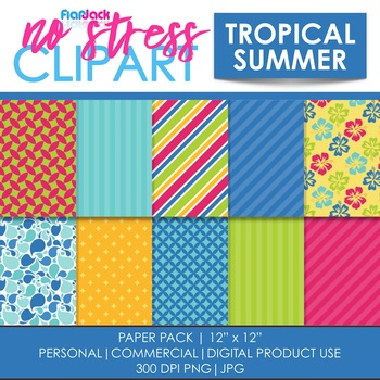 Tropical Summer Digital Papers