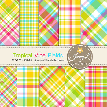Tropical Summer Plaid Digital Papers