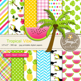 Tropical Summer digital paper and clipart SET