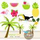 Tropical Summer digital paper and clipart SET