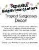 Tropical Sunglasses bulletin Board Letters (Printable)