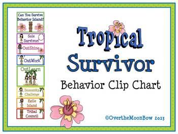 "Tropical ""Survivor"" Themed Behavior Clip Chart"