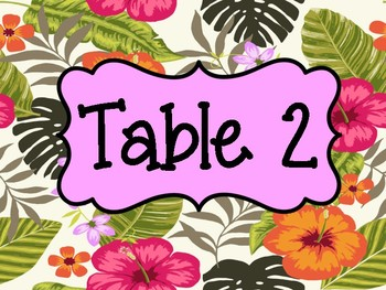 Tropical Table Number Signs