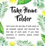 Tropical Take Home Folder Cover
