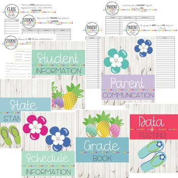 Tropical Teacher Binder & Planner - Yearly Updates! Editable!