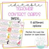 Tropical Teacher Contact Cards! Perfect for Meet the Teach