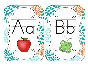 Tropical Teal Blossoms Alphabet Cards