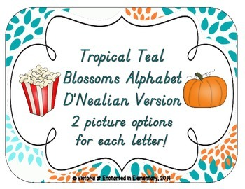 Tropical Teal Blossoms Alphabet Cards: D'Nealian Version