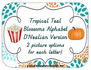 Tropical Teal Blossoms Alphabet Cards: D'Nealian Version