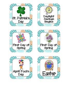 Tropical Teal Blossoms Holiday Calendar Pieces