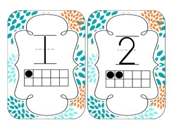 Tropical Teal Blossoms Number Cards 1-20