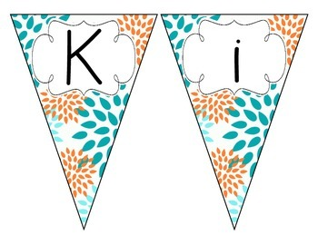 Tropical Teal Blossoms Welcome Pennant