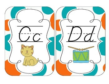 Tropical Teal Polka Dots Alphabet Cards: D'Nealian Version