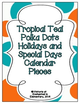 Tropical Teal Polka Dots Holiday Calendar Pieces