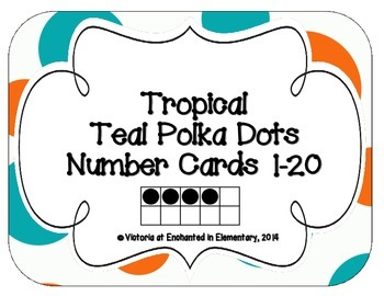 Tropical Teal Polka Dots Number Cards 1-20