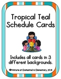 Tropical Teal Schedule Cards