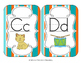 Tropical Teal Stripes Alphabet Cards