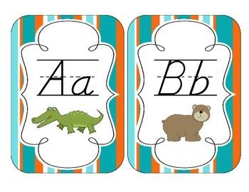 Tropical Teal Stripes Alphabet Cards: D'Nealian Version
