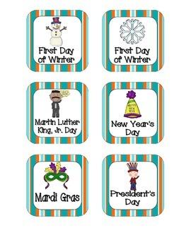 Tropical Teal Stripes Holiday Calendar Pieces