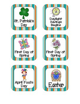 Tropical Teal Stripes Holiday Calendar Pieces