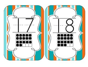 Tropical Teal Stripes Number Cards 1-20