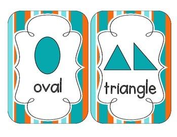 Tropical Teal Stripes Shape Cards
