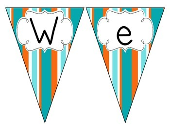 Tropical Teal Stripes Welcome Pennant
