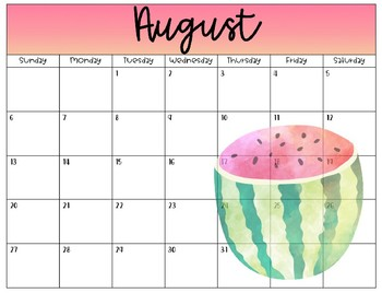 Tropical Theme 2017-2018 School Calendar - EDITABLE