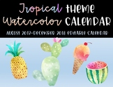 Tropical Theme 2017-2018 School Calendar - EDITABLE