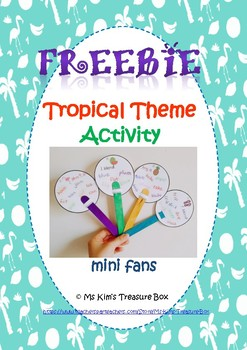 Tropical Theme Activity FREEBIE - mini fans
