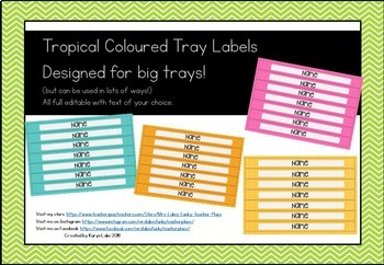 Tropical Theme Big Tray Labels