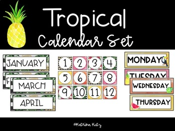 Tropical Theme Calendar Decor