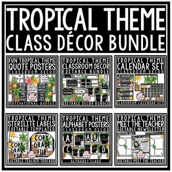 Tropical Classroom Themes Decor Bundle: Tropical Classroom Decor Editable