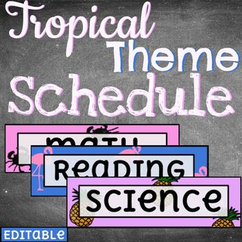 Daily Schedule Cards /// 100+ Editable /// TROPICAL