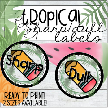 Tropical Theme Dull & Sharp Labels for Pencils