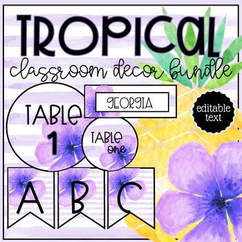 Tropical Theme EDITABLE Classroom Decor BUNDLE