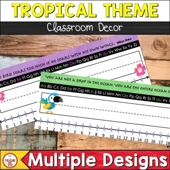 Tropical Theme Editable Classroom Decor Desk Name Tags